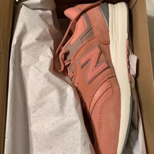 Peach Suede New Balance 697 Sneakers